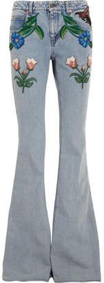 Net-a-Porter Gucci for Appliquéd Mid-rise Flared Jeans - Light denim