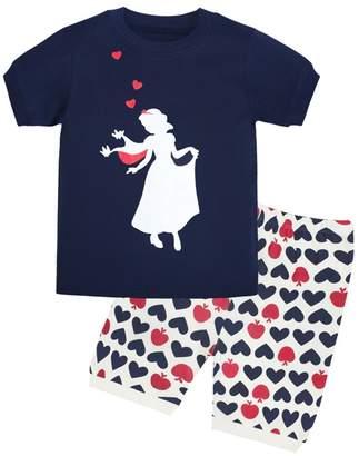 Cczmfeas Girls Pajamas Children PJs Kids Cartoon Sleepwear 100% Cotton Set