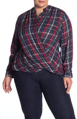 Joe Fresh Plaid Wrap Blouse (Plus Size)