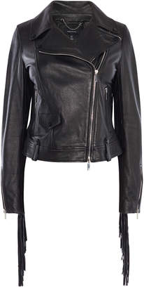 Karen Millen Leather Fringed Jacket