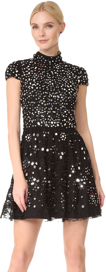 Alice + Olivia alice + olivia Maureen Embroidered Party Dress