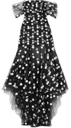 Oscar de la Renta Asymmetric Off-the-shoulder Polka-dot Tulle Gown - Black