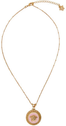Versace Gold and Pink Medusa Pendant Necklace