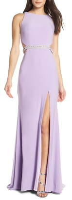 Mac Duggal Jeweled Waist Jersey Evening Dress