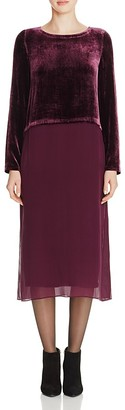 Eileen Fisher Velvet Top Silk Midi Dress $378 thestylecure.com