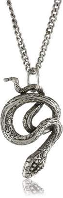 Alisa Michelle Nature Sterling Plated Snake Charm Pendant Necklace