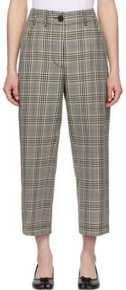 MM6 MAISON MARGIELA Off-White Check Wide-Leg Trousers