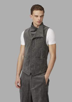 Giorgio Armani Single-Breasted Microcheck Flocked Seersucker Waistcoat