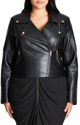 City Chic Faux Leather Biker Jacket