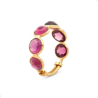 Tresor Collection Rhodolite Round Rose Cut Ring Band In 18K Yellow Gold