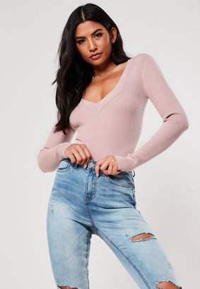 Missguided Pink Ultimate Plunge Knit Bodysuit
