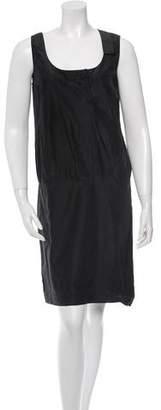 Prada Sport Leather-Trimmed Knee-Length Dress