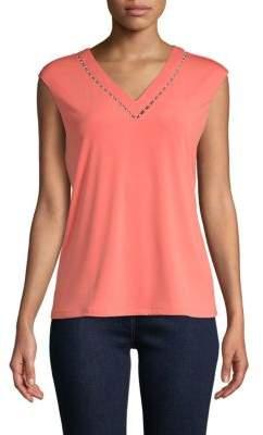 Calvin Klein Beaded Cutout V-Neck Blouse