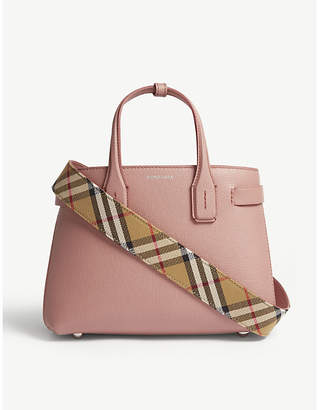 9207602c0628 Burberry Dusty Rose Pink Check New Banner Small Grained Leather Tote Bag