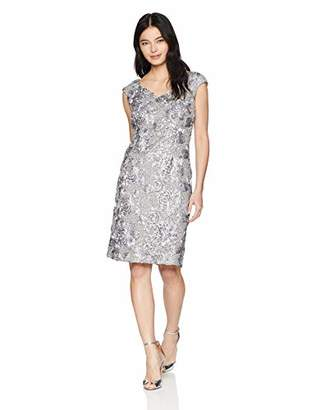 Alex Evenings Women's Shift Midi Lace Embroidered Dress (Petite and Regular),P