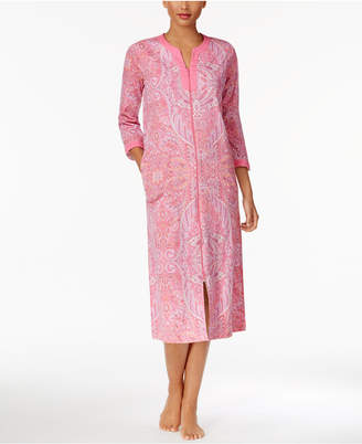 Miss Elaine Printed Knit Zip-Front Robe $68 thestylecure.com