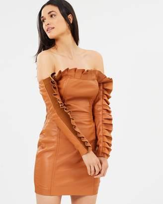 Asilio Sanction Leather Ruffle Dress