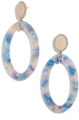Drusy & Oval Drop Earrings