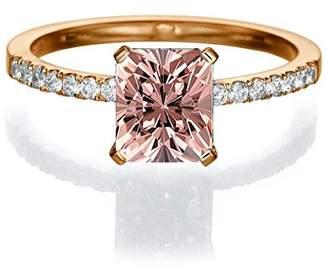 JeenJewels 1.50 carat Emerald Cut Morganite Engagement Ring in 10k Rose Gold