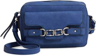 Violet Ray New York Chain Buckle Faux Leather Crossbody Bag
