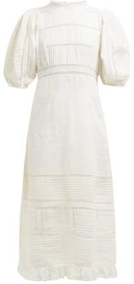 Sea Poppy Pintucked Linen And Cotton Blend Dress - Womens - Cream
