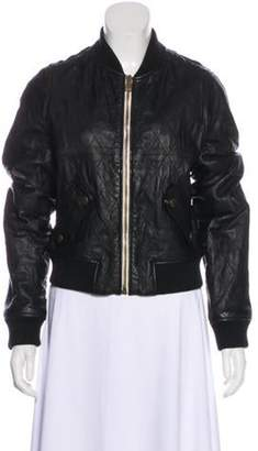 Chloé Quilted Leather Bomber Jacket Black Chloé Quilted Leather Bomber Jacket