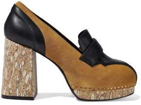 Opening Ceremony Leather-Paneled Suede Platform Pumps
