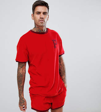 Puma organic cotton towelling t-shirt in red Exclusive at ASOS