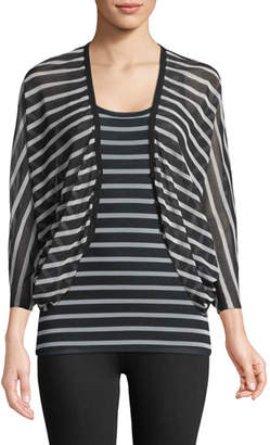 Fuzzi Striped Button-Front Cocoon Cardigan