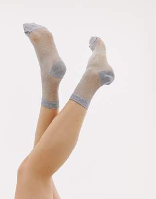 Asos DESIGN sheer glitter ankle sock