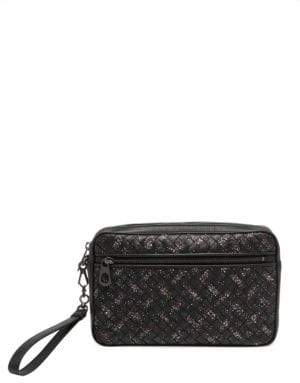 Bottega Veneta Small Intrecciato Woven Leather Microdots Pouch