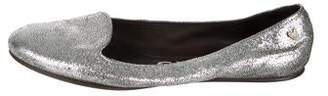 Rochas Metallic Leather Ballet Flats