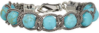Emanuele Bicocchi Silver and Blue Beaded Bracelet