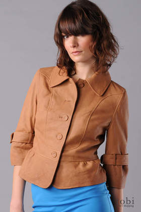 Doma Leather 3/4 Sleeve Button Front Jacket