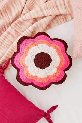 Crochet Floral Throw Pillow