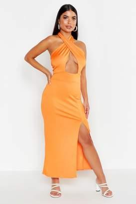 boohoo Petite Twist Halter Neck Split Maxi Dress
