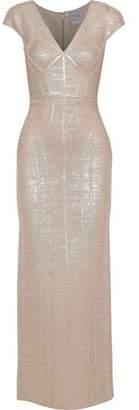 Herve Leger Metallic Coated Bandage Gown