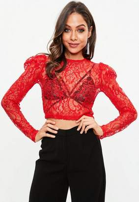 Missguided Red Lace Crop Top