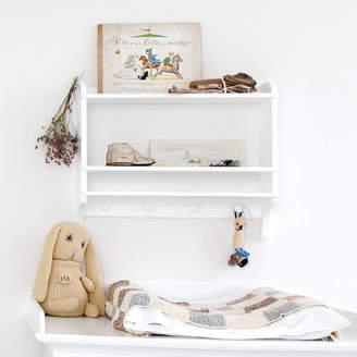 Nubie Modern Kids Boutique White Wall Mounted Bookshelf With Hooks
