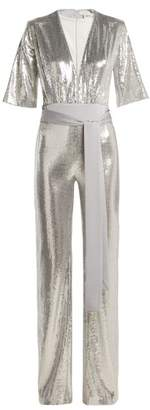 Galvan - Galaxy Sequined Wide Leg Jumpsuit - Womens - Silver