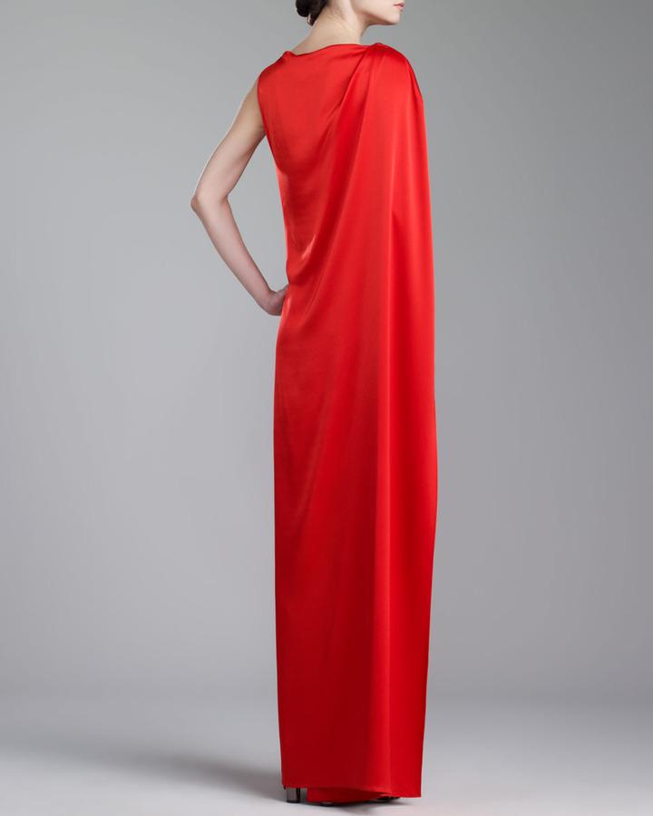 St. John Liquid Satin Gown, Venetian Red