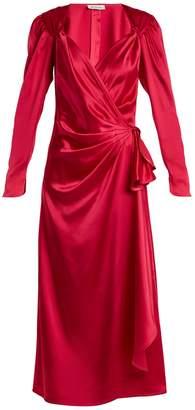 ATTICO Pat sweetheart-neck asymmetric satin dress
