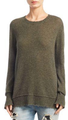 R13 Distressed Edge Crewneck Cashmere Sweater $695 thestylecure.com