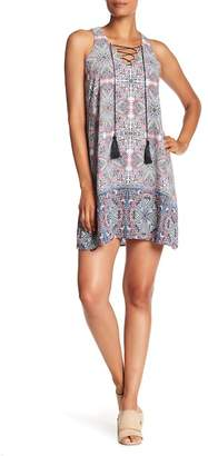 Nicole Miller Tassel Tie Trapeze Print Dress