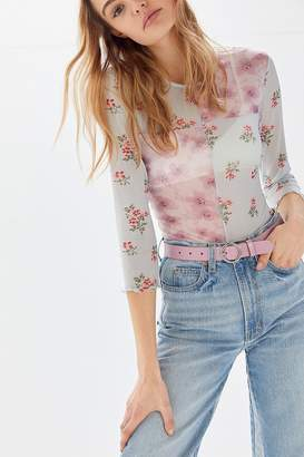 Urban Outfitters Floral Mesh Long Sleeve Tee