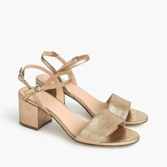 J.Crew Strappy block-heel sandals (60mm) in metallic gold leather