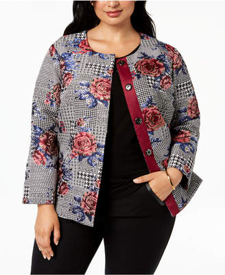 Alfani Plus Size Printed Collarless Jacket, Created for Macy's