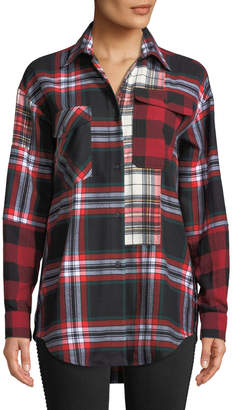 McQ Patchwork Tartan-Check Button-Front Shirt