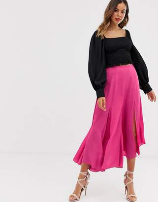 Asos Design DESIGN asymmetric floaty midi skirt with godet inserts