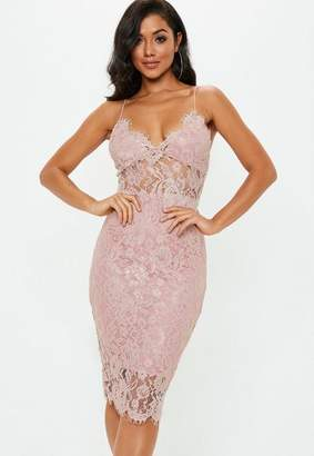 Missguided Blush Pink Strappy Lace Midi Dress